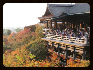 The famous view from the second balcony, with Kiyomizudera and Kyoto in view